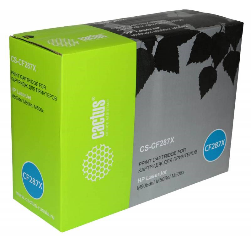 Тонер Картридж Cactus CS-CF287X черный для HP LJ M506dn,  M506n,  M506x (18000стр.)Лазерные картриджи для HP<br><br>
