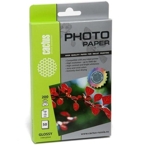 Фотобумага Cactus CS-GA620050E 10x15, 200г/м2, 50л., белый глянцевое для струйной печати