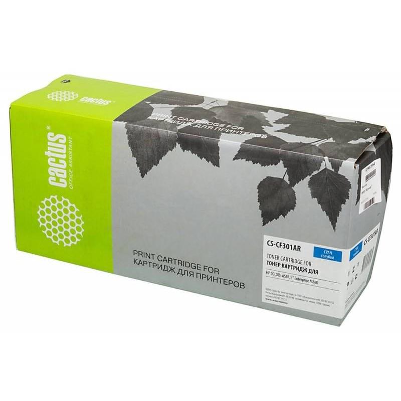 Тонер Картридж Cactus CS-CF301AR (HP 827A) голубой для HP CLJ Ent M880 (32000стр.)Лазерные картриджи для HP<br>Лазерный картридж&amp;nbsp;Cactus CS-CF301AR (HP 827A)?. Он совместим с лазерным принтером HP Color LaserJet ENT M880&amp;nbsp;&amp;nbsp;. Цвет - голубой. С помощью данного картриджа Вы сможете распечатать порядка 32000 страниц текста (при 5% заполнении листа).&amp;nbsp; Cactus CS-CF301AR&amp;nbsp;создан по аналогии с картриджем Hewlett-Packard CF301AR (HP 827A), нисколько не уступает ему по качеству печати, но цена его значительно ниже. Это позволит Вам немного сэкономить, ничего при этом не потеряв. На тонер-картридж Cactus CS-CF301AR&amp;nbsp;распространяется гарантия 1 год с момента приобретения.<br>