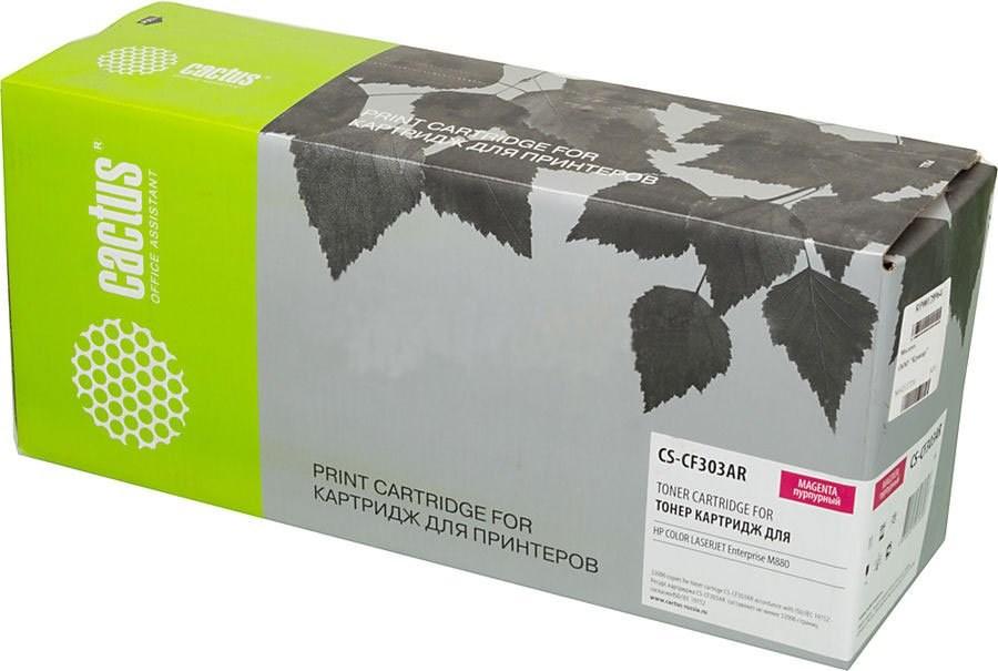 Тонер Картридж Cactus CS-CF303AR (HP 827A) пурпурный для HP CLJ Ent M880 (32000стр.)Лазерные картриджи для HP<br>Лазерный картридж&amp;nbsp;Cactus CS-CF303AR (HP 827A)?. Он совместим с лазерным принтером HP Color LaserJet ENT M880&amp;nbsp;&amp;nbsp;. Цвет - голубой. С помощью данного картриджа Вы сможете распечатать порядка 32000 страниц текста (при 5% заполнении листа).&amp;nbsp; Cactus CS-CF303AR&amp;nbsp;создан по аналогии с картриджем Hewlett-Packard CF303AR (HP 827A), нисколько не уступает ему по качеству печати, но цена его значительно ниже. Это позволит Вам немного сэкономить, ничего при этом не потеряв. На тонер-картридж Cactus CS-CF303AR&amp;nbsp;распространяется гарантия 1 год с момента приобретения.<br>