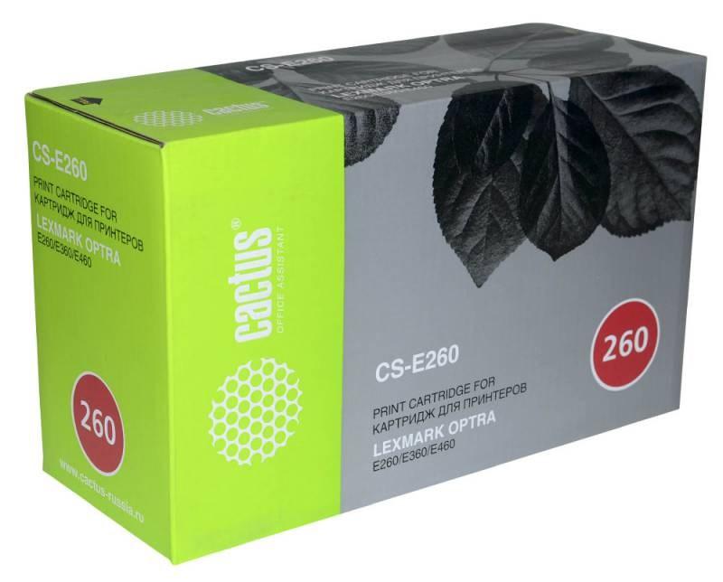 Лазерный картридж Cactus CS-E260 (E260A21E Bk) черный для Lexmark Optra E260, E260d, E260dn, E360, E360d, E360dn, E460, E460dn, E460dw, E462dtn (3500 стр.)Лазерные картриджи<br><br><br>Лазерный картридж Cactus CS-E260<br><br>Предназначен для использования в принтерах Lexmark Optra E260, E260d, E260dn, E360, E360d, E360dn, E460, E460dn, E460dw, E462dtn<br><br>Цвет &amp;ndash; черный<br><br>Используя картридж Cactus CS-E260 у Вас будет возможность распечатать около 3&amp;#39;500 информационных страниц (при 5% заполнении).<br><br>Гарантия на картридж Cactus CS-E260 предоставляется производителем, сроком на 12 месяцев с момента приобретения.<br><br><br>