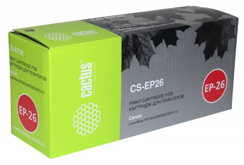 Лазерный картридж Cactus CS-EP26 (8489A002) черный для Canon imageClass MF3110, MF3240, MF5530, MF5730, MF5770; LBP 27, 300, 3200 Laser Shot, 3240 i-Sensys; MF3110, 3200, 3240, 5600, 5630, 5730, 5770; SmartBase MF27 (2'500 стр.) фото