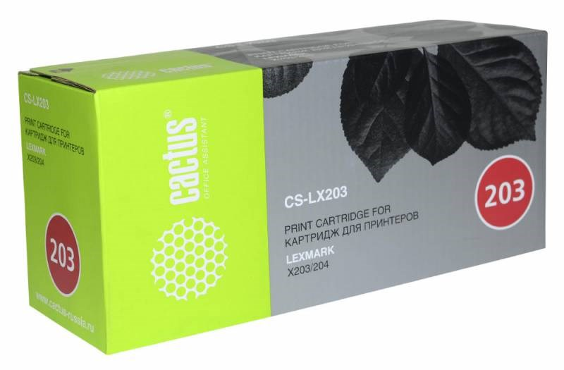 Лазерный картридж Cactus CS-LX203 (X203A21G Bk) черный для Lexmark Optra X203n, X204n (2500 стр.)Лазерные картриджи<br><br><br>Лазерный картридж Cactus CS-LX203<br><br>Предназначен для использования в принтерах Lexmark Optra X203n, X204n<br><br>Цвет ndash; черный<br><br>Используя картридж Cactus CS-LX203 у Вас будет возможность распечатать около 2#39;500 информационных страниц (при 5% заполнении).<br><br>Гарантия на картридж Cactus CS-LX203 предоставляется производителем, сроком на 12 месяцев с момента приобретения.<br><br>