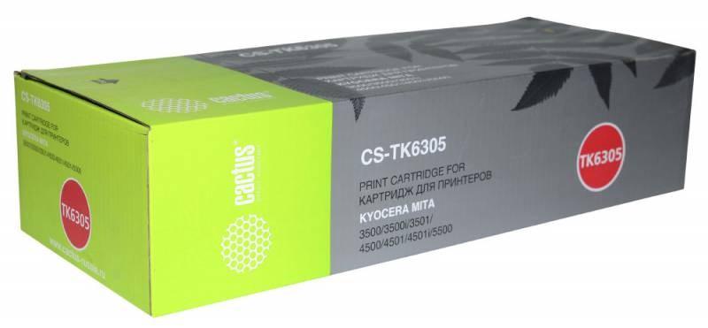 Лазерный картридж Cactus CS-TK6305 (TK-6305 Bk) черный для Kyocera Mita TASKalfa 3500, 3500i, 3501, 3501i, 4500, 4500i, 4501, 4501i, 5500, 5500i, 5501, 5501i (35000 стр.)Картриджи для Kyocera<br><br><br>Лазерный картридж Cactus CS-TK6305<br><br>Предназначен для использования в принтерах Kyocera Mita TASKalfa 3500, 3500i, 3501, 3501i, 4500, 4500i, 4501, 4501i, 5500, 5500i, 5501, 5501i<br><br>Цвет ndash; черный<br><br>Используя картридж Cactus CS-TK6305 у Вас будет возможность распечатать около 35#39;000 информационных страниц (при 5% заполнении).<br><br>Гарантия на картридж Cactus CS-TK6305 предоставляется производителем, сроком на 12 месяцев с момента приобретения.<br><br>