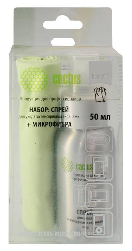 Чистящий набор (салфетки + спрей) Cactus CSP-S3001AL (S3001AL)для экранов и оптики 1шт 25х25см 50мл