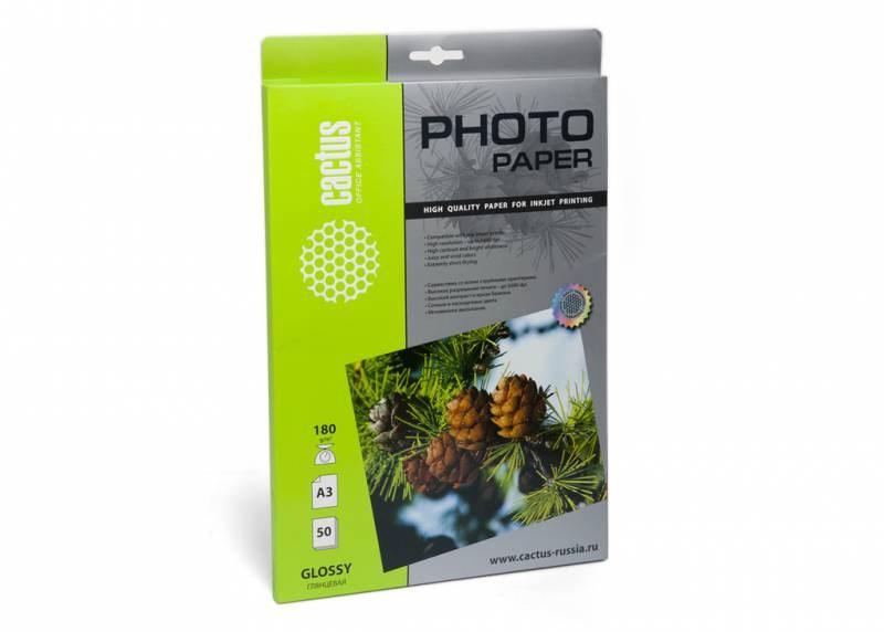 Фотобумага Cactus CS-GA318050 (GA318050) A3, 180г/м2, 50л., белый глянцевое для струйной печати