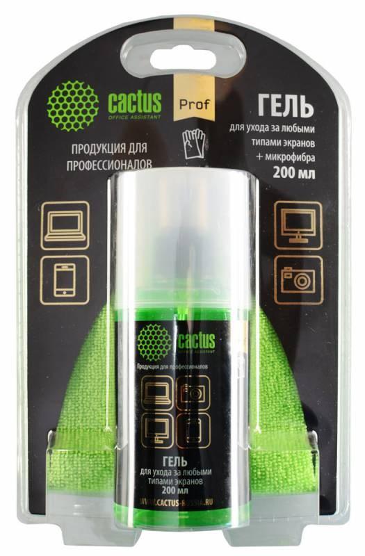 Чистящий набор (салфетки + гель) Cactus CS-S3004BL (S3004BL)  для экранов и оптики блистер 1шт 25х25см 200млЧистящие средства<br><br>