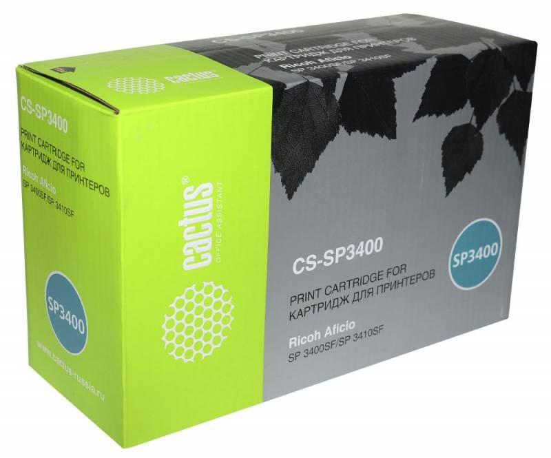 Тонер Картридж Cactus CS-SP3400 (SP3400) черный для Ricoh Aficio SP 3400, 3410, 3400n, 3410dn, 3400sf, 3410sf (5000стр.)Картриджи для Ricoh<br>Лазерный картридж CACTUS CS-SP3400 (SP3400)&amp;nbsp;. Он совместим с лазерным принтером RICOH AFICIO SP 3400, 3410, 3400N, 3410DN, 3400SF, 3410SF. Цвет - черный. С помощью данного картриджа Вы сможете распечатать порядка 2500 страниц текста (при 5% заполнении листа).&amp;nbsp;&amp;nbsp;CACTUS CS-SP3400 создан по аналогии с картриджем RICOH AFICIO CS-SP3400 (SP3400)&amp;nbsp;, нисколько не уступает ему по качеству печати, но цена его значительно ниже. Это позволит Вам немного сэкономить, ничего при этом не потеряв. На тонер-картридж Cactus CS-SP3400 распространяется гарантия 1 год с момента приобретения.<br>