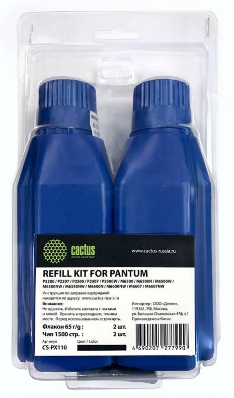Тонер cactus refill kit: 2 chips+2 bottles cs-px110