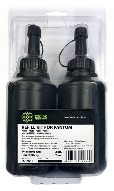 Тонер Cactus refill kit: 2 chips+2 bottles CS-TN210 черный флакон для принтера PANTUM P1000, P1050, P2050, M5000, M6000.