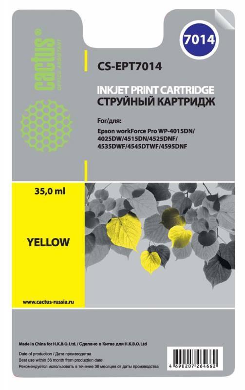 Струйный картридж Cactus CS-EPT7014 (C13T70144010) желтый для принтеров Epson WorkForce Pro WF-4015, WF-4020, WF-4025, WF-4095, WF-4515, WF-4525, WF-4535, WF-4545, WF-4595 (3400 стр.)