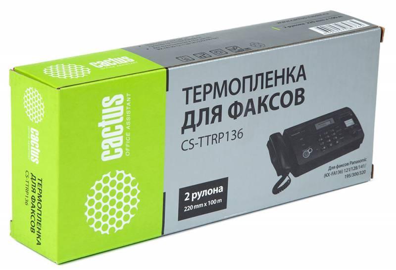 Термопленка Cactus CS-TTRP136 (KX-FA136A) черный для принтеров Panasonic KX F969, F1010, F1015, F1016, F1110, F1800, F1810, F1810E, F1810G, F1820, F1830, F1830G, FM205, FM210, FM220, FM230, FM255, FM260, FM280, FM330, FMC230, FP131, FP195, FP200, FP245, FТермопленка<br>Термопленка Cactus CS-TTRP136 (KX-FA136A) предназначена для использования в принтерах Brother Panasonic KX F969, F1010, F1015, F1016, F1110, F1800, F1810, F1810E, F1810G, F1820, F1830, F1830G, FM205, FM210, FM220, FM230, FM255, FM260, FM280, FM330, FMC230, FP131, FP195, FP200, FP245, FP250, FP258, FP265, FP270, FP278, FP300, FP320, FP330, PM210<br>nbsp;<br><br>Ресурс 100 метров<br>nbsp;<br><br>Гарантия 12 месяцев