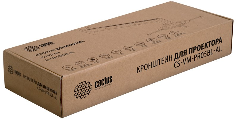Кронштейн для проектора Cactus CS-VM-PR05BL-AL серебристый макс.10кг настенный и потолочный поворот и наклонКронштейны для проекторов<br><br>
