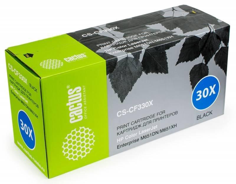 Тонер Картридж Cactus CS-CF330XR черный для HP Color LaserJet M651 Enterprise, M651dn Enterprise (CZ256A), M651n Enterprise (CZ255A), M651xh Enterprise (CZ257A) (20500 стр.)Лазерные картриджи для HP<br>Лазерный картридж&amp;nbsp;Cactus CS-CF330XR&amp;nbsp;(HP 654X). Он совместим с лазерным принтером HP Color&amp;nbsp;LaserJet M651 ENTERPRISE, M651DN ENTERPRISE (CZ256A), M651N ENTERPRISE (CZ255A), M651XH ENTERPRISE (CZ257A). Цвет - черный. С помощью данного картриджа Вы сможете распечатать порядка 20500 страниц текста (при 5% заполнении листа). Cactus CS-CF330XR создан по аналогии с картриджем Hewlett-Packard CF330X&amp;nbsp;(HP 654X), нисколько не уступает ему по качеству печати, но цена его значительно ниже. Это позволит Вам немного сэкономить, ничего при этом не потеряв. На тонер-картридж Cactus CS-CF330XR распространяется гарантия 1 год с момента приобретения.<br>
