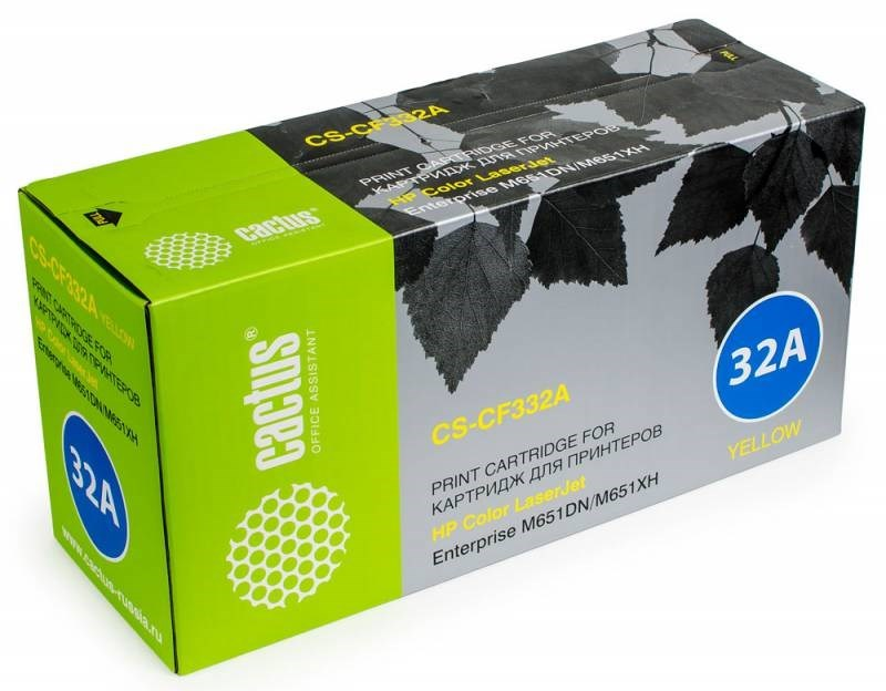 Тонер Картридж Cactus CS-CF332AR желтый для HP CLJ M651dn, M651n, M651xh (15000 стр.)Лазерные картриджи для HP<br>Лазерный картридж&amp;nbsp;Cactus CS-CF332AR&amp;nbsp;(HP 654A). Он совместим с лазерным принтером HP Color&amp;nbsp;LaserJet M651 ENTERPRISE, M651DN ENTERPRISE (CZ256A), M651N ENTERPRISE (CZ255A), M651XH ENTERPRISE (CZ257A). Цвет - желтый. С помощью данного картриджа Вы сможете распечатать порядка 15000 страниц текста (при 5% заполнении листа).&amp;nbsp; Cactus CS-CF332AR создан по аналогии с картриджем Hewlett-Packard CF332A&amp;nbsp;(HP 654A), нисколько не уступает ему по качеству печати, но цена его значительно ниже. Это позволит Вам немного сэкономить, ничего при этом не потеряв. На тонер-картридж Cactus CS-CF332AR распространяется гарантия 1 год с момента приобретения.<br>