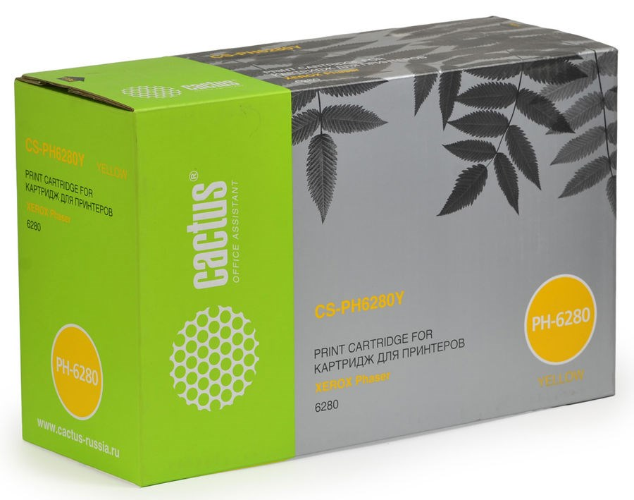 Лазерный картридж Cactus CS-PH6280YR (106R01402) желтый для Xerox Phaser 6280, 6280dn, 6280n (5900 стр.)Лазерные картриджи для Xerox<br><br><br>Лазерный картридж Cactus CS-PH6280YR<br><br>Предназначен для использования в принтерах Xerox Phaser 6280, 6280dn, 6280n<br><br>Страна производства - Россия<br><br>Цвет ndash; желтый<br><br>Используя картридж Cactus CS-PH6280YR у Вас будет возможность распечатать около 5#39;900 информационных страниц (при 5% заполнении).<br><br>Гарантия на картридж Cactus CS-PH6280YR предоставляется производителем, сроком на 12 месяцев с момента приобретения.<br><br>