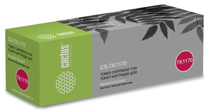 Лазерный картридж Cactus CS-TK1170 (TK-1170 Bk) черный для Kyocera Mita Ecosys M2040dn, M2540dn, M2540dw, M2640idw (7200 стр.)Картриджи для Kyocera<br><br><br>Лазерный картридж Cactus CS-TK1170<br><br>Предназначен для использования в принтерах Kyocera Mita Ecosys M2040dn, M2540dn, M2540dw, M2640idw<br><br>Цвет ndash; черный<br><br>Используя картридж Cactus CS-TK1170 у Вас будет возможность распечатать около 7#39;200 информационных страниц (при 5% заполнении).<br><br>Гарантия на картридж Cactus CS-TK1170 предоставляется производителем, сроком на 12 месяцев с момента приобретения.<br><br>
