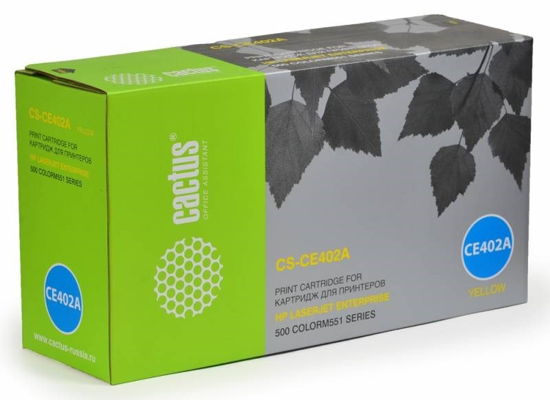 Лазерный картридж Cactus CS-CE402AV (HP 507A) желтый для принтеров HP Color LaserJet M551 (Ent 500 Color), M551DN Ent (CF082A), M551N Ent, M551XH Ent, M570 (PRO 500 Color MFP), M570DN (PRO 500 Color MFP), M570DW (PRO 500 Color MFP) (6000 стр.)Лазерные картриджи для HP<br><br>