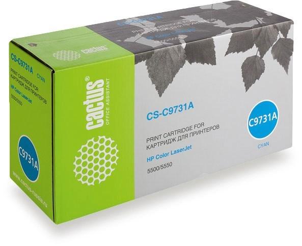 Лазерный картридж cactus cs-c9731av (hp 645a) голубой для