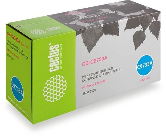 Лазерный картридж Cactus CS-C9733AV (645A M) пурпурный для HP Color LaserJet 5500, 5500DN, 5500DTN, 5500HDN, 5500TDN, 5500N, 5550, 5550DN, 5550DTN, 5550HDN, 5550N (12000 стр.)Лазерные картриджи для HP<br><br>Лазерный картридж Cactus CS-C9733AV<br><br>Предназначен для использования в принтерах HP Color LaserJet 5500, 5500DN, 5500DTN, 5500HDN, 5500TDN, 5500N, 5550, 5550DN, 5550DTN, 5550HDN, 5550N; Canon LBP 2710, 2810, 5700, 5800;&amp;nbsp; Canon imageClass C3500<br><br>Цвет &amp;ndash; пурпурный<br><br>Используя картридж Cactus CS-C9733AV у Вас будет возможность распечатать около 12&amp;#39;000 информационных страниц (при 5% заполнении).<br><br>Гарантия на картридж Cactus CS-C9733AV предоставляется производителем, сроком на 12 месяцев с момента приобретения.<br><br>