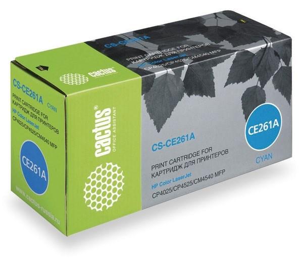 Лазерный картридж Cactus CS-CE261AV (HP 648A) голубой для принтеров HP Color LaserJet CM4540 MFP, CM4540f MFP, CM4540fskm MFP, CM4540mfp Ent, CP4020 Ent, CP4025 Ent, CP4025dn, CP4025n, CP4520 Ent, CP4525 Ent, CP4525dn, CP4525N, CP4525XH (11000 стр.)Лазерные картриджи для HP<br>Лазерный картридж&amp;nbsp;Cactus CS-CE261AV&amp;nbsp;(HP 648A). Он совместим с лазерным принтером HP Color LaserJet CM4540 MFP, CM4540F MFP, CM4540FSKM MFP, CM4540MFP ENTERPRISE, CP4020 ENTERPRISE, CP4025 ENTERPRISE, CP4025DN, CP4025N, CP4520 ENTERPRISE, CP4525 ENTERPRISE, CP4525DN, CP4525N, CP4525XH. Цвет - голубой. С помощью данного картриджа Вы сможете распечатать порядка 8500 страниц текста (при 5% заполнении листа).&amp;nbsp; Cactus CS-CE261AV создан по аналогии с картриджем Hewlett-Packard CE261A&amp;nbsp;(HP 648A), нисколько не уступает ему по качеству печати, но цена его значительно ниже. Это позволит Вам немного сэкономить, ничего при этом не потеряв. На тонер-картридж Cactus CS-CE261AV&amp;nbsp; распространяется гарантия 1 год с момента приобретения.<br>