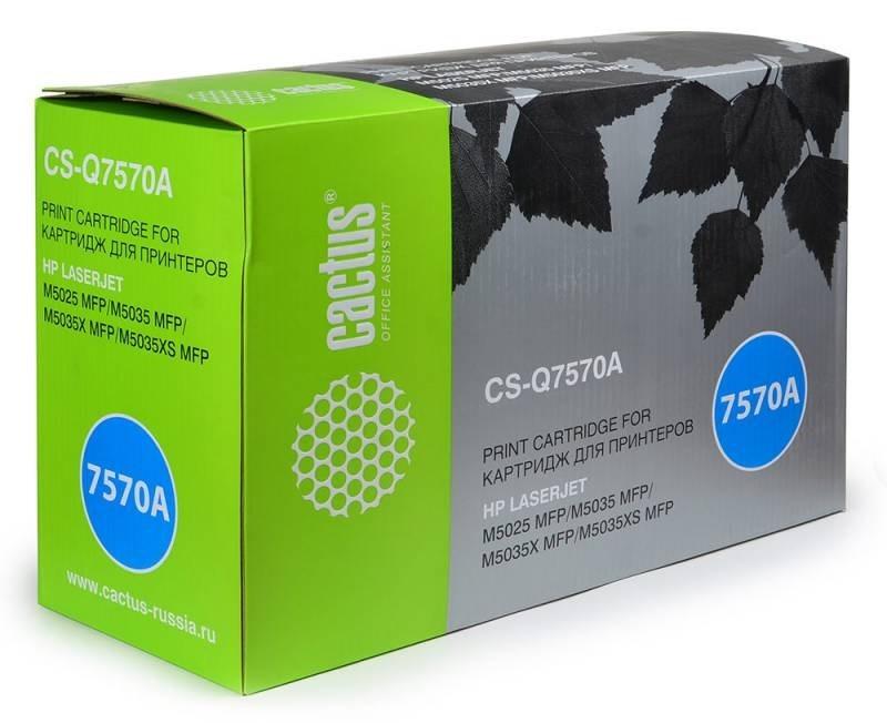 Лазерный картридж Cactus CS-Q7570AV (HP 70A) черный для принтеров HP LaserJet M5025 MFP, M5035 MFP, M5035x MFP, M5035xs MFP, M5039 Enterprise, M5039xs MFP (15000 стр.)Лазерные картриджи для HP<br>Лазерный картридж&amp;nbsp;Cactus CS-Q7570AV&amp;nbsp;(HP 70A). Он совместим с лазерным принтером HP LaserJet M5025 MFP, M5035 MFP, M5035X MFP, M5035XS MFP, M5039 ENTERPRISE, M5039XS MFP. Цвет - черный. С помощью данного картриджа Вы сможете распечатать порядка 15000 страниц текста (при 5% заполнении листа).&amp;nbsp; Cactus CS-Q7570AV&amp;nbsp;создан по аналогии с картриджем Hewlett-Packard Q7570A&amp;nbsp;(HP 70A), нисколько не уступает ему по качеству печати, но цена его значительно ниже. Это позволит Вам немного сэкономить, ничего при этом не потеряв. На тонер-картридж Cactus CS-Q7570AV&amp;nbsp;распространяется гарантия 1 год с момента приобретения.<br>