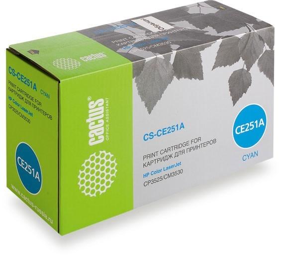 Тонер Картридж Cactus CS-CE251AV голубой (7000стр.) для HP CLJ CP3525/CM3530Лазерные картриджи для HP<br><br>