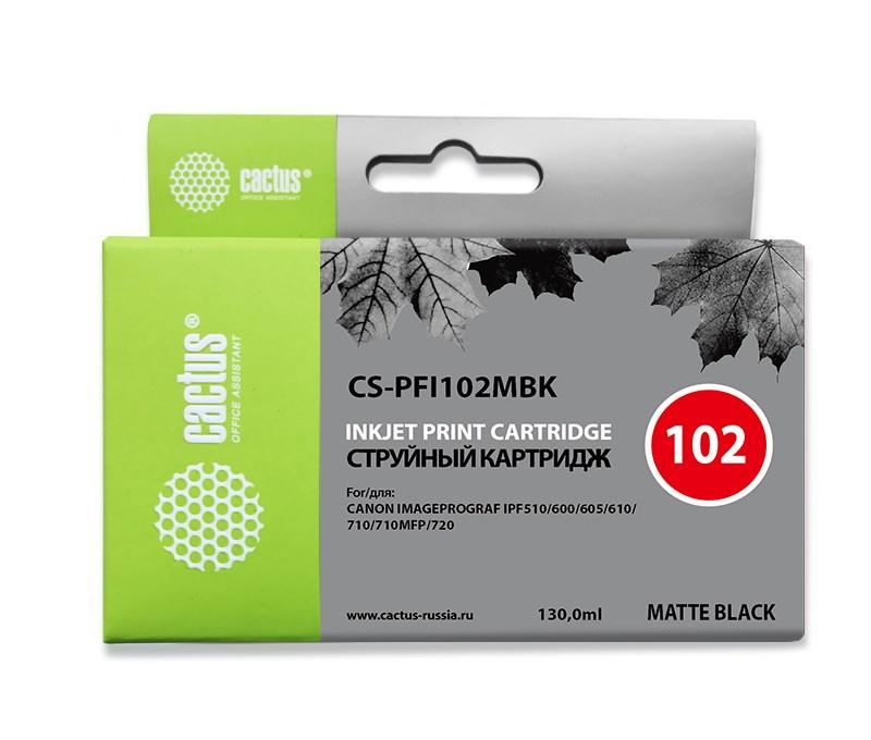 Картридж струйный Cactus CS-PFI102MBK черный матовый (130мл) для Canon iPF500/iPF600/iPF700/ MFP M40/iPF765/LP17/LP24Струйные картриджи<br><br>