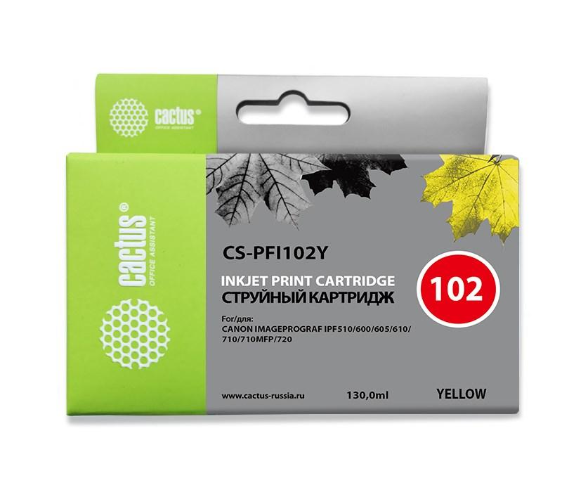 Картридж струйный Cactus CS-PFI102Y желтый (130мл) для Canon IP iPF500/iPF600/iPF700/MFP M40/iPF765/LP17/LP24Струйные картриджи<br><br>