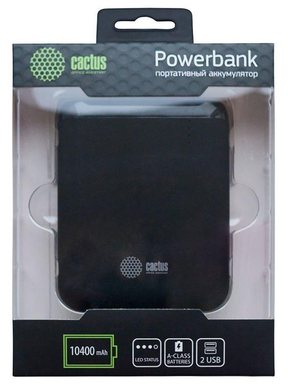 Мобильный аккумулятор Cactus CS-PBHTST-10400 Li-Ion 10400mAh 2.4A+1A черный 2xUSBМобильные аккумуляторы<br>Материал корпуса: Пластик<br>Цвет корпуса: графит<br>Емкость: 10 400 mAh&amp;nbsp;<br>Размеры (мм): 97 x 80 x 23&amp;nbsp;<br>Вид батареи: Li-Ion<br>Вес: 245г<br>Выходы:&amp;nbsp;<br>- USB 1: 2.4A&amp;nbsp;<br>- USB 2: 2A<br>