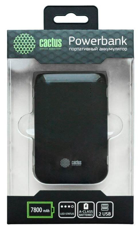 Мобильный аккумулятор Cactus CS-PBHTST-7800 Li-Ion 7800mAh 2.4A+2.4A черный 2xUSBМобильные аккумуляторы<br><br>