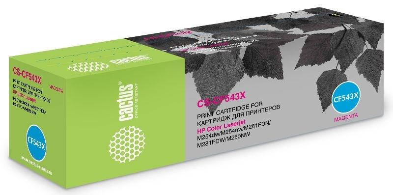 Лазерный картридж Cactus CS-CF543X (HP 203X) пурпурный увеличенной емкости для HP Color LaserJet M254dw, M254nw, M280nw, M281fdn, M281fdw (2500 стр.)Лазерные картриджи для HP<br>Лазерный картридж Cactus CS-CF543X<br><br>Предназначен для использования в принтерах HP Color LaserJet M254dw, M254nw, M280nw, M281fdn, M281fdwnbsp;<br><br>Страна производства - Китай<br><br>Цвет ndash; пурпурный<br><br>Используя картридж Cactus CS-CF543X у Вас будет возможность распечатать около 2#39;500 информационных страниц (при 5% заполнении).<br><br>Гарантия на картридж Cactus CS-CF543X предоставляется производителем, сроком на 12 месяцев с момента приобретения.