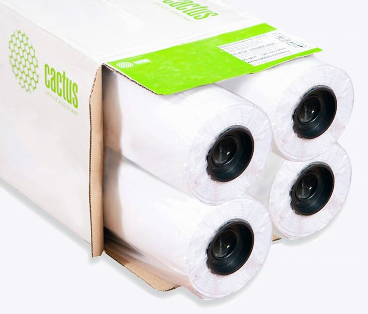 Бумага Cactus Eco CS-LFP80-914457E-4 914мм-45.7м/80г/м2/белый втулка: 50.8 мм (2) (упак.:4 рул.)