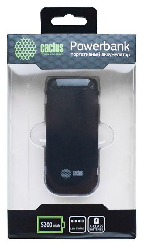 Мобильный аккумулятор Cactus CS-PBHTST-5200 Li-Ion 5200mAh 2.1A черный 1xUSBМелкая электроника<br>Материал корпуса: Пластик<br>Цвет корпуса: графит<br>Емкость: 5 200 mAhnbsp;<br>Размеры (мм): 97 x 44 x 23nbsp;<br>Вид батареи: Li-Ion<br>Вес: 128г<br>Выходы:nbsp;<br>- USB 1: 2.1Anbsp;