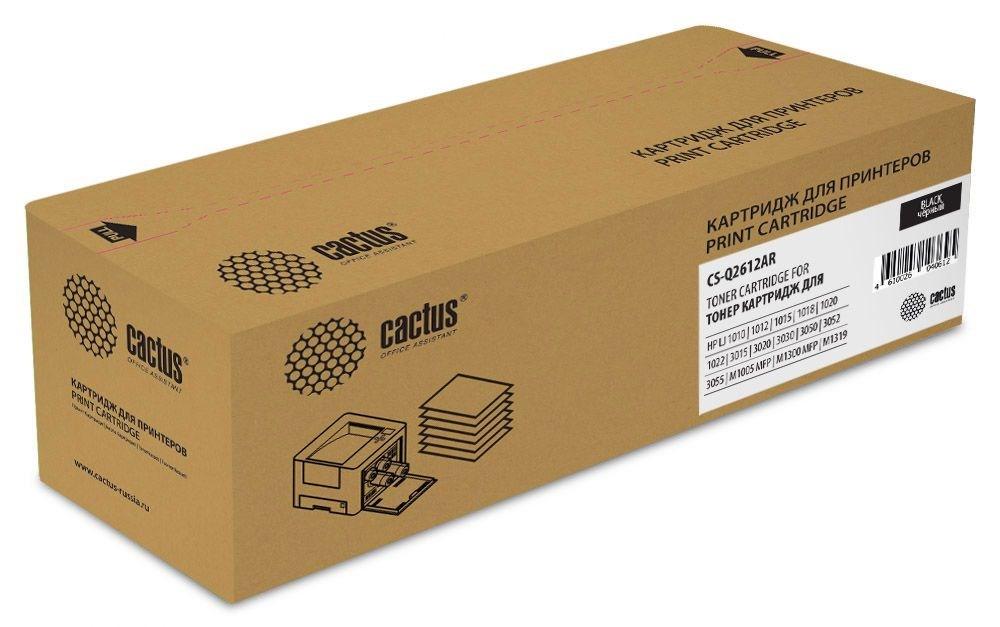 Лазерный картридж Cactus CS-Q2612AR (HP 12A) черный для HP LaserJet 1010, 1012, 1015, 1018, 1020, 1020 Plus, 1022, 1022N, 1022NW, 3015, 3020, 3030, 3050z, 3052, 3055, M1005 MFP, M1300 M1319, M1319f MFP (2'000 стр.)
