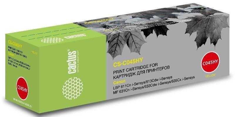 Лазерный картридж Cactus CS-C045HY (1243C002) желтый увеличенной емкости для Canon LBP 611Cn i-Sensys, 613Cdw i-Sensys; MF 631Cn 633Cdw 635Cx i-Sensys (2'200 стр.)