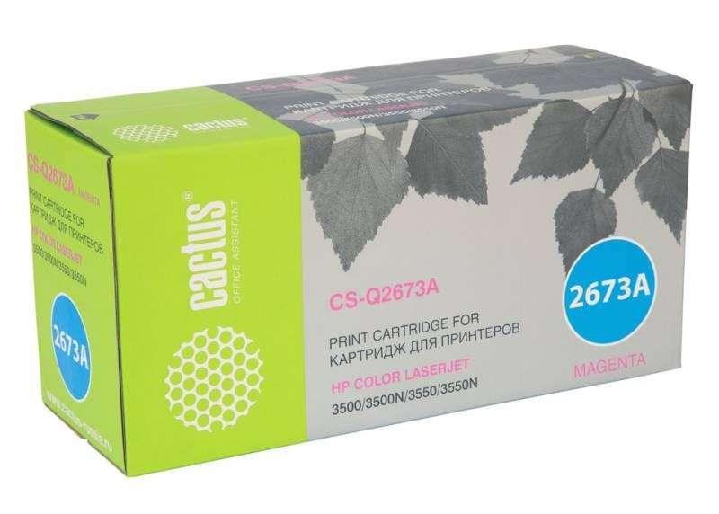 Лазерный картридж Cactus CS-Q2673AR (HP 309A) пурпурный для HP Color LaserJet 3500, 3500N, 3550, 3550N (4000 стр.)Лазерные картриджи для HP<br>Лазерный картридж Cactus CS-Q2673ARnbsp;<br><br>Предназначен для использования в принтерах HP Color LaserJet 3500, 3500N, 3550, 3550Nnbsp;<br><br>Страна производства - Россия<br><br>Цвет ndash; пурпурный<br><br>Используя картридж Cactus CS-Q2673AR у Вас будет возможность распечатать около 4#39;000 информационных страниц (при 5% заполнении).<br><br>Гарантия на картридж Cactus CS-Q2673AR предоставляется производителем, сроком на 12 месяцев с момента приобретения.