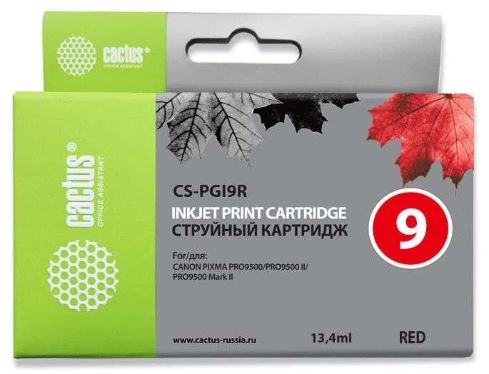 Струйный картридж cactus cs-pgi9r (1040b001) красный для canon pixma ix7000, mx7600, pro-9500, pro9500 mark ii (650 стр.)