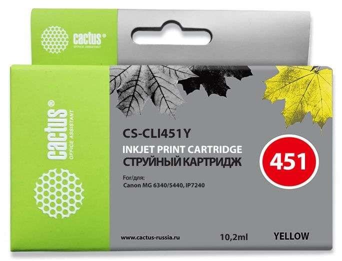 Струйный картридж Cactus CS-CLI451Y (6526B001) желтый для Canon Pixma iP6840, iP7240, iP8740, iX6840, MG5440, MG5540, MG5640, MG6340, MG6440, MG6640, MG7140, MG7540, MX724, MX924 (130 стр.)Струйные картриджи<br><br><br>Струйный картридж Cactus CS-CLI451Y<br><br>Предназначен для использования в принтерах Canon Pixma iP6840, iP7240, iP8740, iX6840, MG5440, MG5540, MG5640, MG6340, MG6440, MG6640, MG7140, MG7540, MX724, MX924<br><br>Цвет ndash; желтый<br><br>Объем емкости с чернилами ndash; 10.2 мл<br><br>Используя картридж Cactus CS-CLI451Y у Вас будет возможность распечатать около 130 информационных страниц (при 5% заполнении).<br><br>Гарантия на картридж Cactus CS-CLI451Y предоставляется производителем, сроком на 12 месяцев с момента приобретения.<br><br>