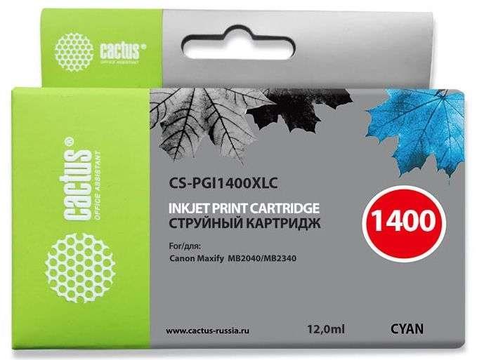 Струйный картридж Cactus CS-PGI1400XLC (9202B001) голубой для Canon MAXIFY MB2040, MB2140, MB2340, MB2740 (1020 стр.)Струйные картриджи<br><br><br>Струйный картридж Cactus CS-PGI1400XLC<br><br>Предназначен для использования в принтерах Canon MAXIFY MB2040, MB2140, MB2340, MB2740<br><br>Цвет ndash; голубой<br><br>Объем емкости с чернилами ndash; 12 мл<br><br>Используя картридж Cactus CS-PGI1400XLC у Вас будет возможность распечатать около 1#39;020 информационных страниц (при 5% заполнении).<br><br>Гарантия на картридж Cactus CS-PGI1400XLC предоставляется производителем, сроком на 12 месяцев с момента приобретения.<br><br>