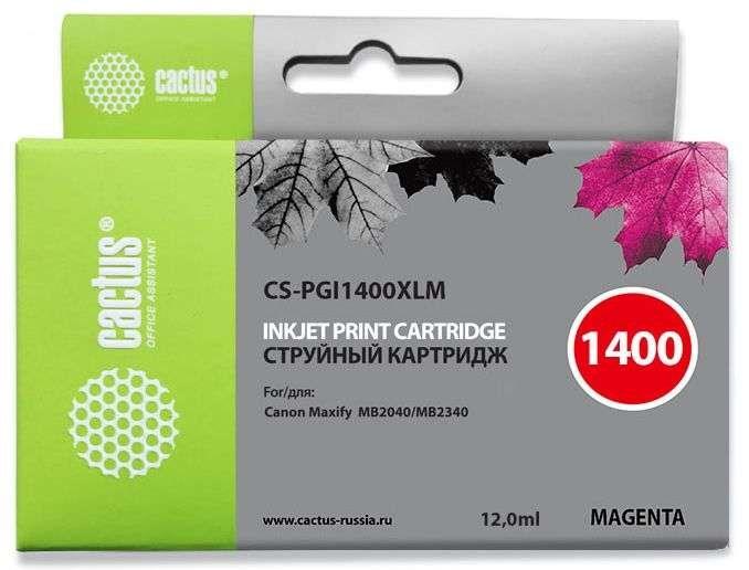 Струйный картридж Cactus CS-PGI1400XLM (9203B001) пурпурный для Canon MAXIFY MB2040, MB2140, MB2340, MB2740 (780 стр.)Струйные картриджи<br>Струйный картридж Cactus CS-PGI1400XLM<br><br>Предназначен для использования в принтерах Canon MAXIFY MB2040, MB2140, MB2340, MB2740<br><br>Цвет ndash; пурпурный<br><br>Объем емкости с чернилами ndash; 12 мл<br><br>Используя картридж Cactus CS-PGI1400XLM у Вас будет возможность распечатать около 780 информационных страниц (при 5% заполнении).<br><br>Гарантия на картридж Cactus CS-PGI1400XLM предоставляется производителем, сроком на 12 месяцев с момента приобретения.