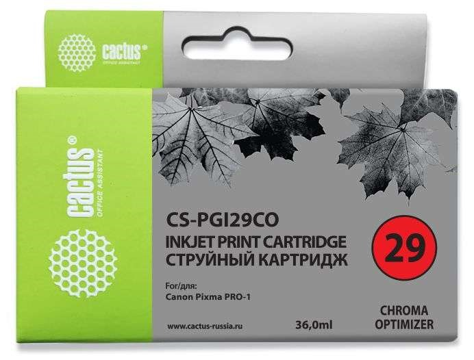 Струйный картридж Cactus CS-PGI29CO (4879B001) оптимизатор для Canon Pixma PRO-1 (429 стр.)Струйные картриджи<br><br><br>Струйный картридж Cactus CS-PGI29CO<br><br>Предназначен для использования в принтерах Canon Pixma PRO-1<br><br>Цвет ndash; оптимизатор<br><br>Объем емкости с чернилами ndash; 36 мл<br><br>Используя картридж Cactus CS-PGI29CO у Вас будет возможность распечатать около 429 информационных страниц (при 5% заполнении).<br><br>Гарантия на картридж Cactus CS-PGI29CO предоставляется производителем, сроком на 12 месяцев с момента приобретения.<br><br>