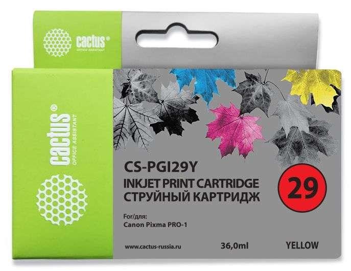 Струйный картридж cactus cs-pgi29y (4875b001) желтый для canon