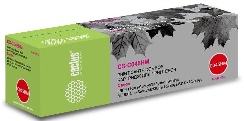 Лазерный картридж Cactus CS-C045HM (1244C002) пурпурный увеличенной емкости для Canon LBP 611Cn i-Sensys, 613Cdw i-Sensys; MF 631Cn 633Cdw 635Cx i-Sensys (2'200 стр.)