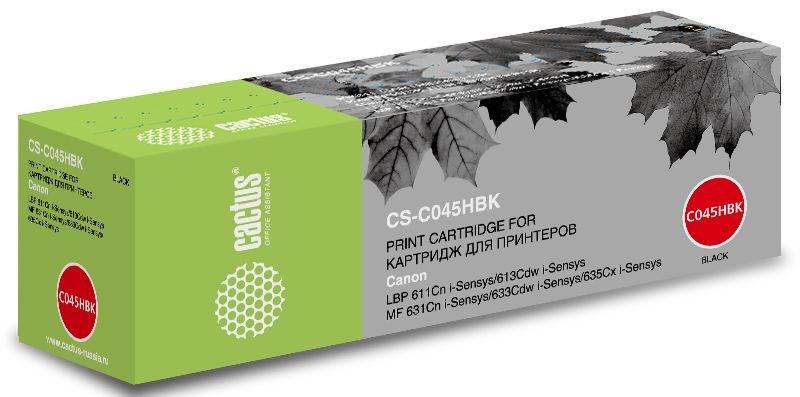 Лазерный картридж Cactus CS-C045HBK (1246C002) черный увеличенной емкости для Canon LBP 611Cn i-Sensys, 613Cdw i-Sensys; MF 631Cn 633Cdw 635Cx i-Sensys (2'800 стр.)