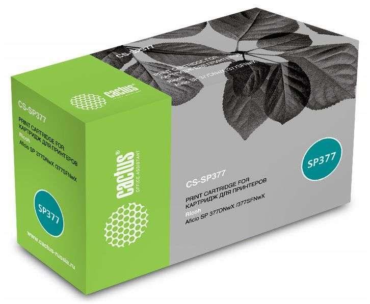 Лазерный картридж Cactus CS-SP377 (50F0XA0, 50F5X0E) черный для Ricoh Aficio SP 377DNwX, 377SFNwX (6400 стр.)Картриджи для Ricoh<br>Лазерный картридж Cactus CS-SP377<br><br>Предназначен для использования в принтерах Ricoh Aficio SP 377DNwX, 377SFNwX<br><br>Страна производства - Китай<br><br>Цвет ndash; черный<br><br>Используя картридж Cactus CS-SP377 у Вас будет возможность распечатать около 6#39;400 информационных страниц (при 5% заполнении).<br><br>Гарантия на картридж Cactus CS-SP377 предоставляется производителем, сроком на 12 месяцев с момента приобретения.
