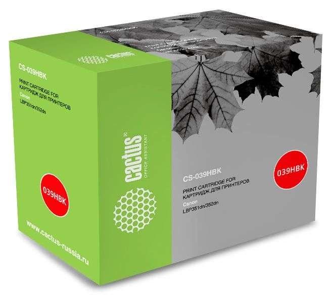 Лазерный картридж Cactus CS-039HBK (0288C001) черный для Canon LBP 351x i-Sensys, 352x i-Sens (25000 стр.)Лазерные картриджи<br>Лазерный картридж Cactus CS-039HBK<br><br>Предназначен для использования в принтерах Canon LBP 351x i-Sensys, 352x i-Sens<br><br>Страна производства - Китай<br><br>Цвет ndash; черный<br><br>Используя картридж Cactus CS-039HBK у Вас будет возможность распечатать около 25#39;000 информационных страниц (при 5% заполнении).<br><br>Гарантия на картридж Cactus CS-039HBK предоставляется производителем, сроком на 12 месяцев с момента приобретения.