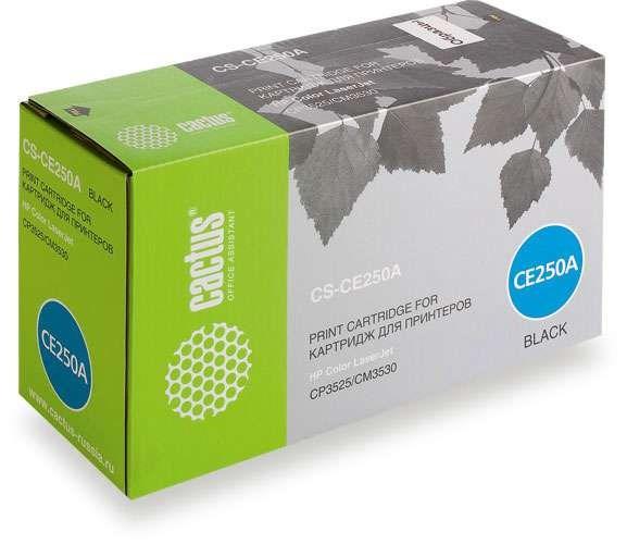 Лазерный картридж Cactus CS-CE250AV (HP 504A) черный для HP Color LaserJet CM3530, CM3530fs, CM3530fs MFP, CP3520, CP3525, CP3525dn, CP3525n (5'000 стр.) фото
