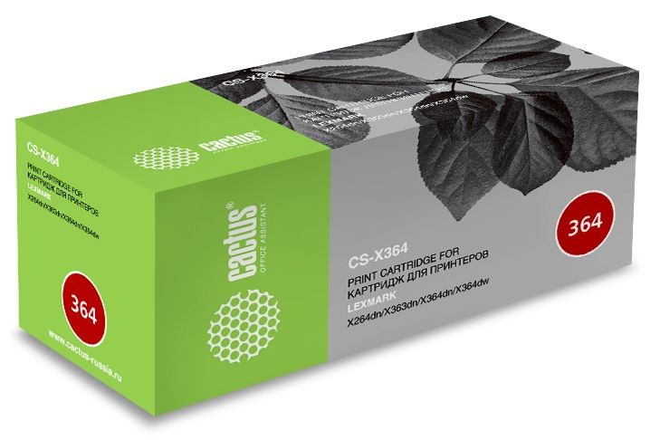 Лазерный картридж Cactus CS-X364 (X264H11G) черный увеличенной емкости для Lexmark Optra X264DN, X363DN, X364DN, X364DW (9000 стр)Картриджи для Lexmark<br>Лазерный картридж Cactus CS-X364<br><br>Предназначен для использования в принтерах Lexmark Optra X264DN, X363DN, X364DN, X364DW<br><br>Цвет ndash; черный<br><br>Используя картридж Cactus CS-X364 у Вас будет возможность распечатать около 9#39;000 информационных страниц (при 5% заполнении).<br><br>Гарантия на картридж Cactus CS-X364 предоставляется производителем, сроком на 12 месяцев с момента приобретения.