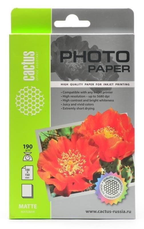 Фотобумага матовая Cactus CS-KMA6190100 10x15, 190г/м2, 100л.
